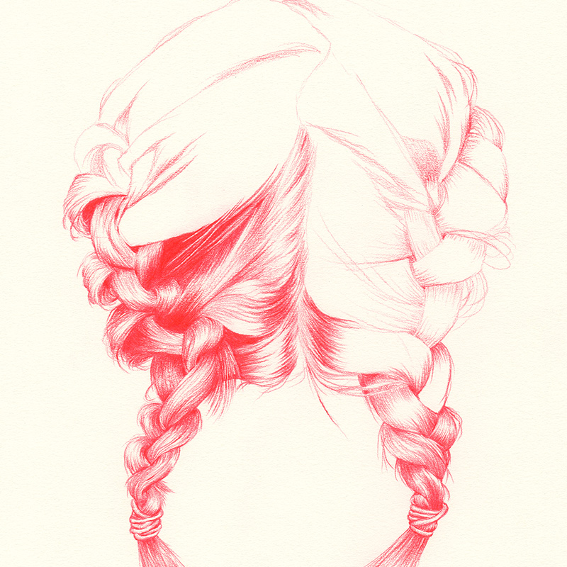 BRAIDED I | pencil on paper