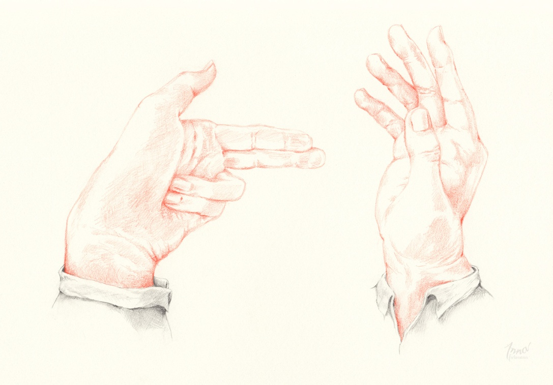 CAUGHT RED-HANDED | pencil on paper