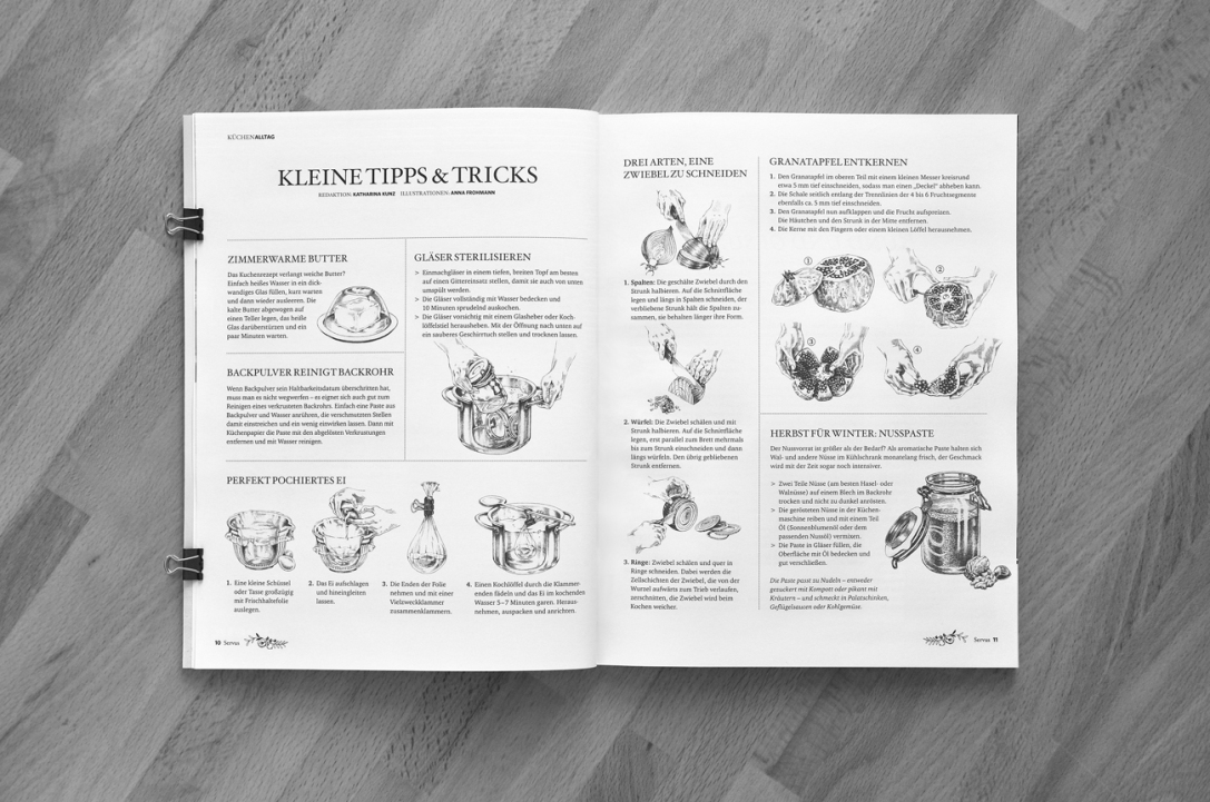 SERVUS GUTE KÜCHE Magazine, Tipps & Tricks Illustrationen